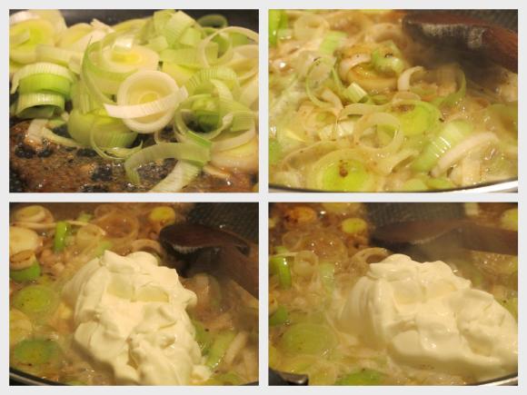 炒大蔥加入鮮奶油