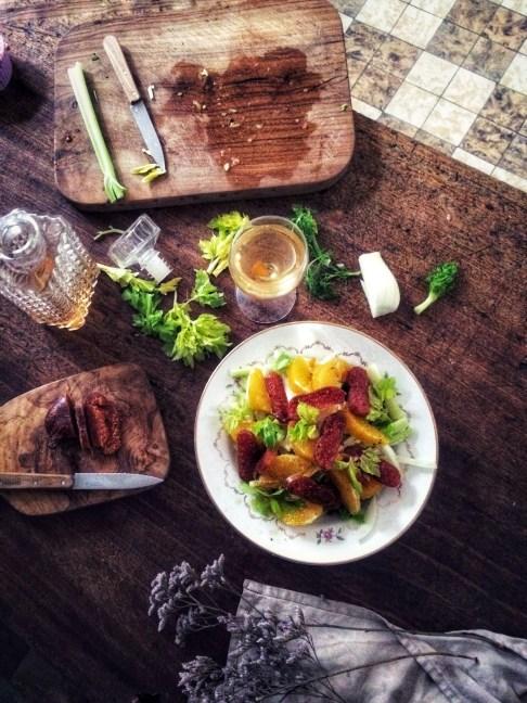 薩丁島烏魚子茴香西洋芹, 甜橙沙拉