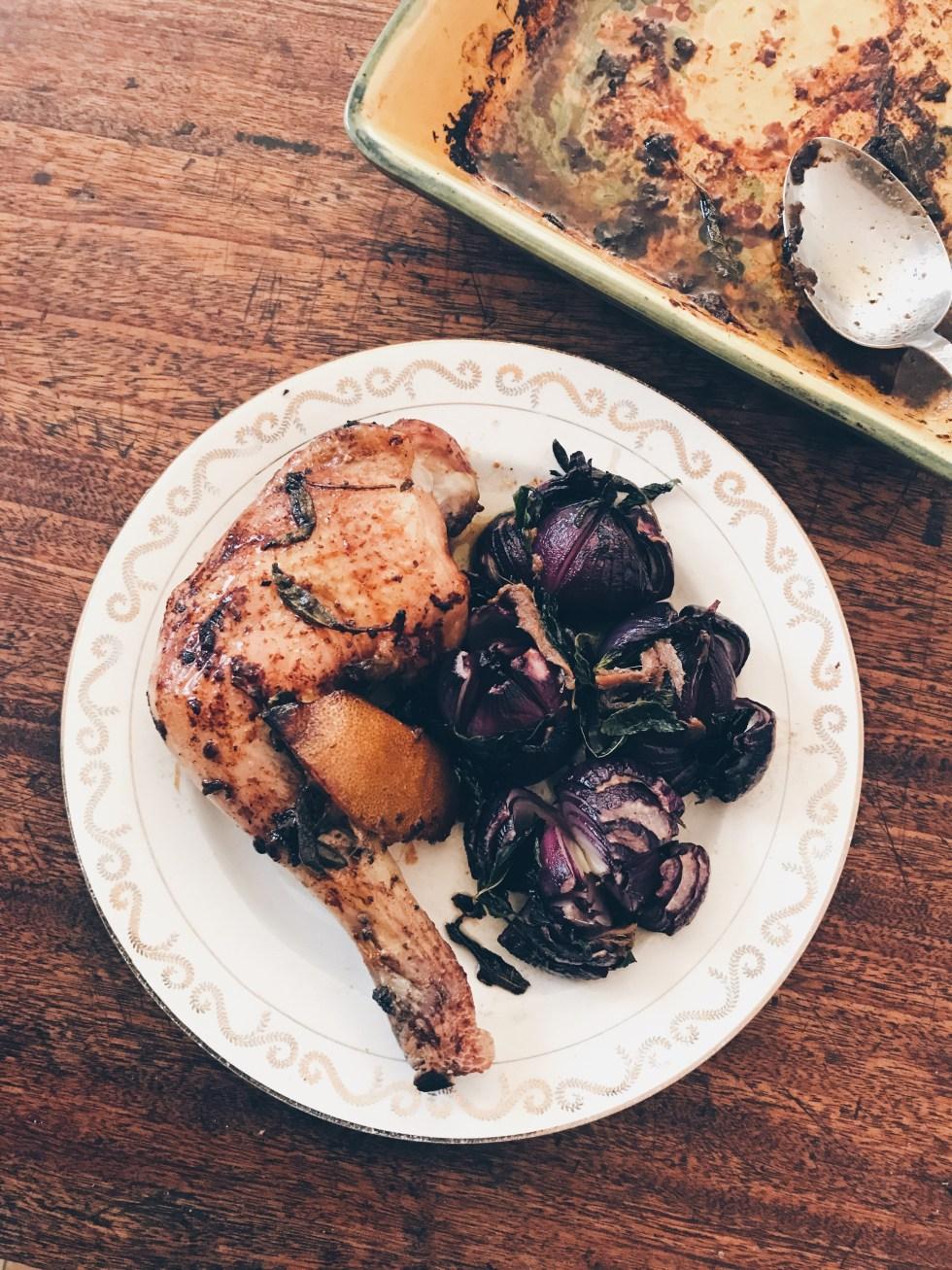 烤紅洋蔥薄荷鯷魚&鹽漬檸檬烤雞