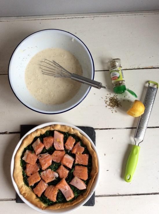 新鮮鮭魚菠菜鹹派