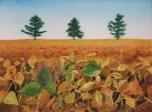 "Beanfield. Watercolour on paper. 11x15"". Lianne Todd. $280"
