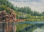 """Hiking Around Horne Lake. Watercolour on Gessoed Paper. 11x15"""". Lianne Todd"""