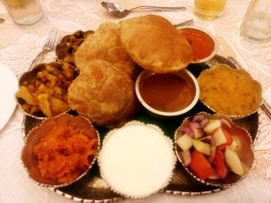 Vegetarian thali in India. Delicious, but heavy!