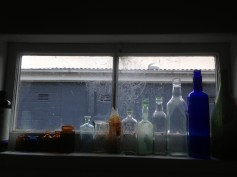 She found these decades-old bottles under her home. Now they adorn her shower window along with spiderwebs