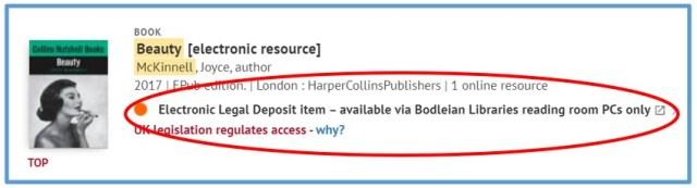 Screenshot of electronic legal deposit item on SOLO