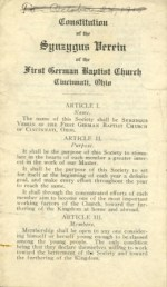 The Constitution of the Synzygus Verein of the First German Baptist Church, which appears to have been adopted prior to 1915.