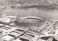 The construction of Riverfront Stadium, June 1969, from the Municipal Reference Library Collection in the Urban Studies Collection.  This collection is not processed.