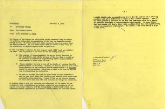 Memo from Berry to Shriver, November 3, 1965
