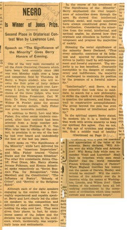 "Newspaper Article - ""Negro is Winner of Jones Prize"""