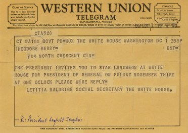 Telegram to Berry from White House