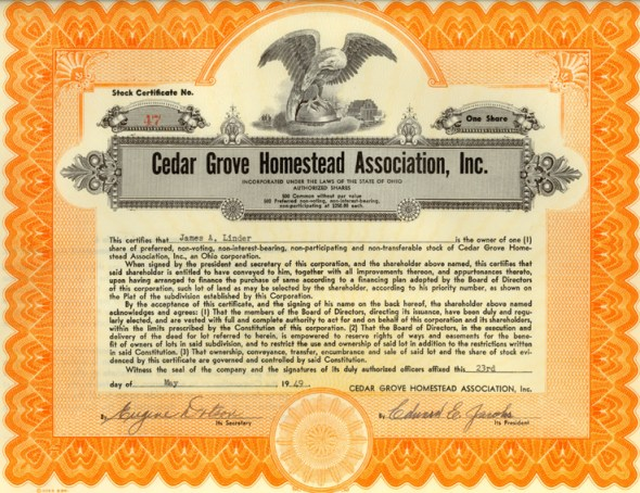 Stock Certificate for Cedar Grove