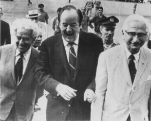Chancellor Meyer Weisgal, U.S. Vice President Hubert Humphrey, Dr. Albert Sabin