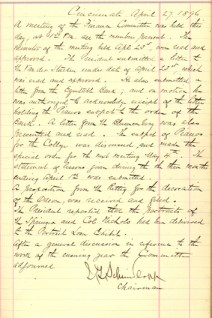 Minutes of the Finance Committee, 1896