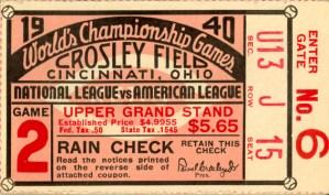 Ticket Stub World Series 1940