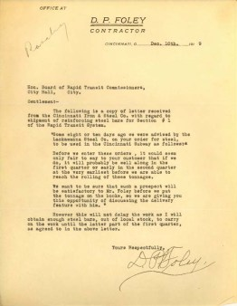 D.P. Foley Letters to Board of Rapid Transit, December 10-11, 1919