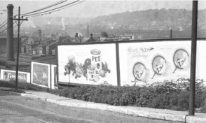 Billboard Ads for PET Milk and Blue Silk Stockings