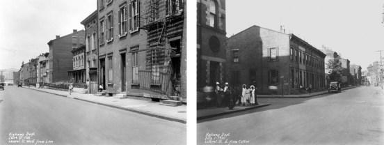 (Left) Laurel Street looking west from Linn Street, Union Terminal under construction in background, June 23, 1932 (Right) Laurel Street looking east from Linn Street across Cutter Street, July 1, 1932
