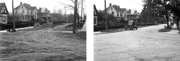 Arnsby Avenue, before street improvements, October, 1927 (left), after street improvements, July, 1927 (right)