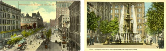 Postcards showing fountain