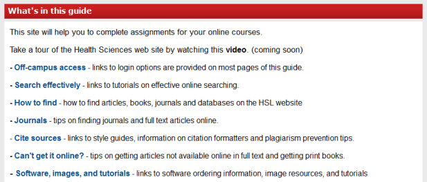 Health Sciences Distancer Learners guide content information
