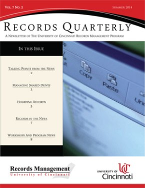 Records Quarterly cover Summer 2014