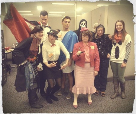 Students and Staff of The Desk @ Langsam modeling the Halloween spirit.
