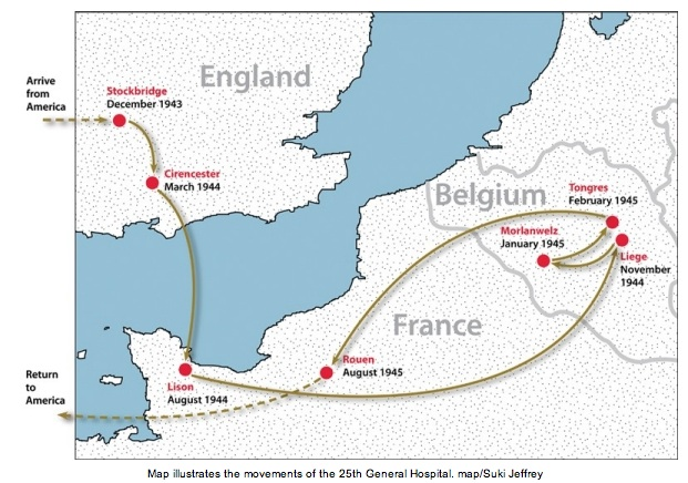 Movements of the 25th General Hospital during WWII