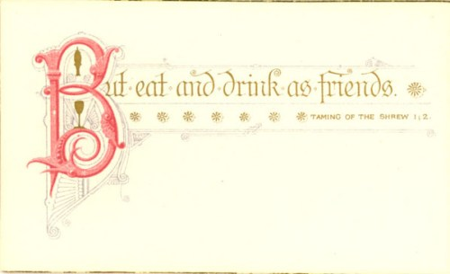 Shakespeare Dinner Card