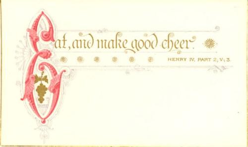 Shakespeare Dinner Card