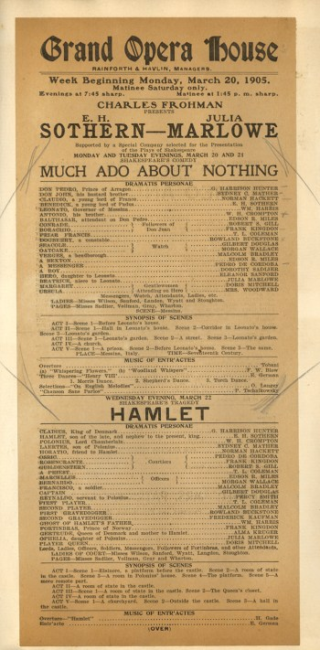 Much Ado About Nothing and Hamlet Playbill