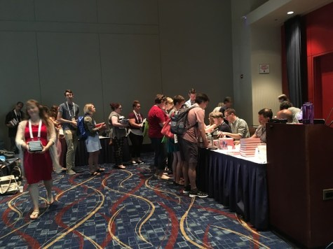 People in line at the YALSA book signing.