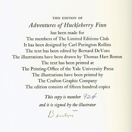 Huckleberry Finn note about edition