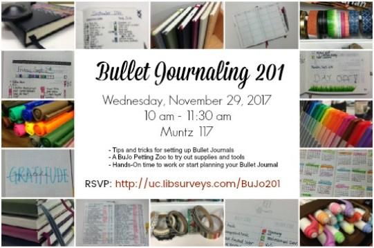 Bullet Journaling 201 Workshop Flier