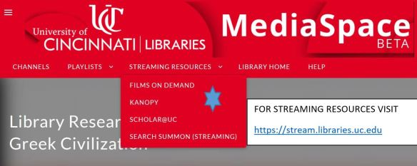 link to streaming resources on the library home page