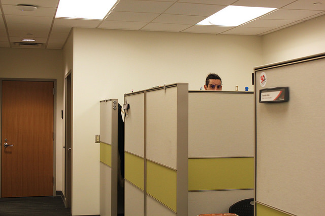 CB peeking over his desk.