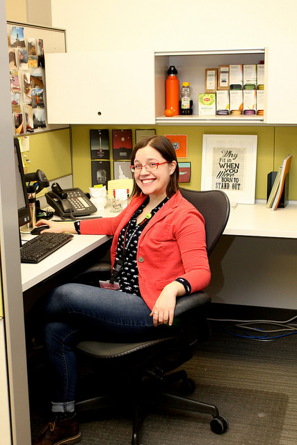Elizabeth in her cubicle.