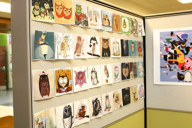 Wall of owl drawings