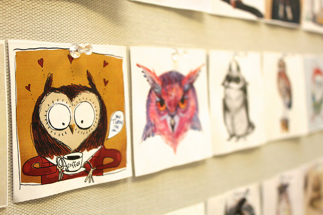 Close photo of owl doodles.