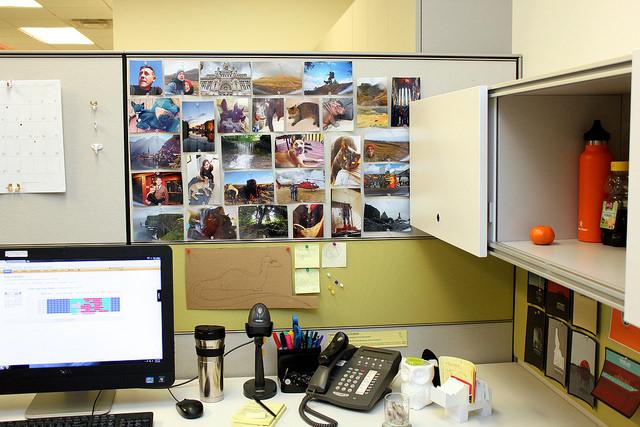 Photos on desk bulletin board.