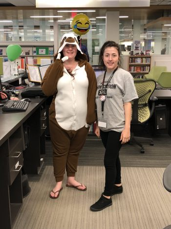 Library Student Assistants Tiffany Fite and Isabella Jewell