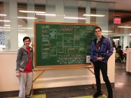 Lauren Wahman and Christian Boyles standing in front of the Book Bracket drawing