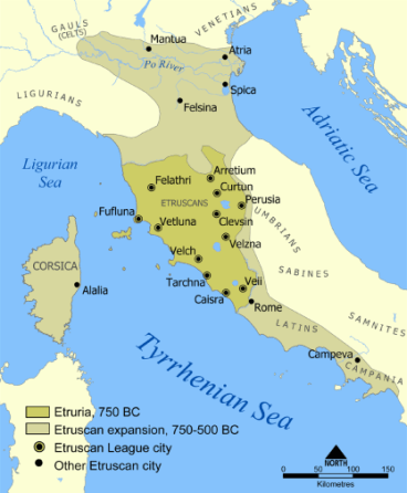 Map of Etruscan Civilization (c. 900-3rd century BCE)