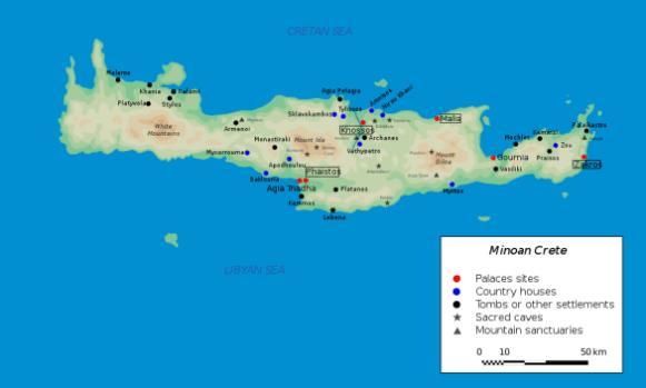Map of Minoan Crete (c. 2700-1400 BCE)