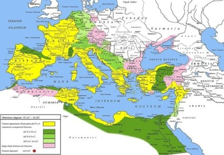 Map of Roman Empire (during the time of Emperor Augustus, 63 BCE-14 CE)