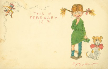 """Postcard with the words """"This is February 14"""" showing a girl and a dog"""