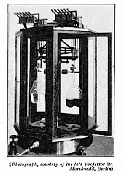 A highly stippled photo of Landolt's balance with two of his counterpoised reaction tubes (7) – the one on the left before reaction and the one on the right after reaction.