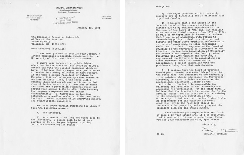 Letter from Benjamin Gettler to Governor Voinvich