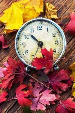 clock and fall leaves