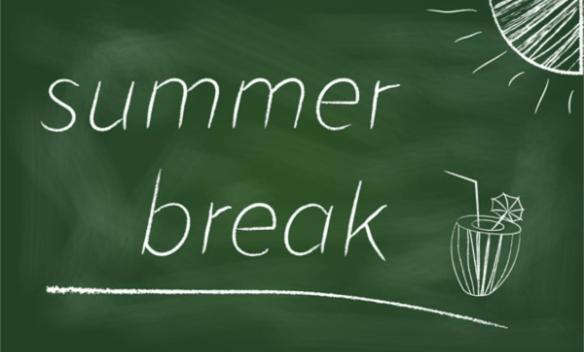 words summer break written on a chalkboard