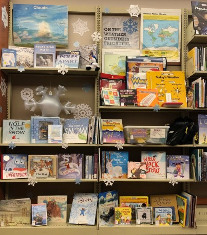 winter library book display